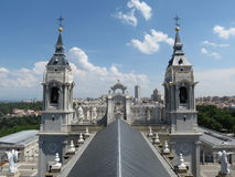 Madrid, Almudena cathedral and Royal palace Stock Photos
