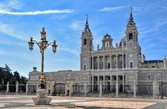 Madrid, Almudena Cathedral Spain. Almudena Cathedral perspective in Madrid spain Stock Image