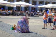 Madrid. Animator dressed as a strange beast Stock Image