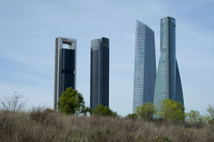Madrid Arena four towers bussiness area Stock Photos