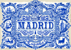 Madrid Azulejos 01 Vintage 2D. Detailed Traditional Painted Tin Glazed Ceramic Tilework Azulejos Vintage Spanish Tiles Vector Illustration Madrid Spain Stock Image