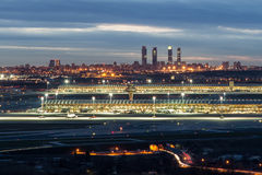 Madrid-Barajas Airport during night Royalty Free Stock Images