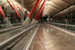 Madrid Barajas International Airport - MAD. Modern interiors of Madrid Barajas Airport Terminal 4 in the evening Stock Photos