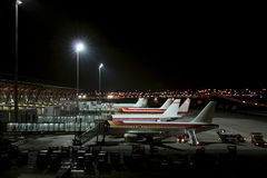 Madrid Barajas International Airport - MAD. Planes in Madrid Barajas Airport in the night Royalty Free Stock Images