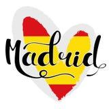 Madrid-Beschriftung Hand schriftliches Madrid Die Flagge von Spanien hören herein stock abbildung