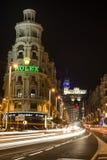 Madrid bij nacht Stock Afbeeldingen