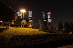 Madrid bij nacht Royalty-vrije Stock Foto's