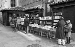 Madrid bookstore.Black & white photography Royalty Free Stock Photography
