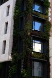 Façade of green building in closeup. Madrid building with a green façade royalty free stock photo