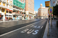 Madrid Bus Stop. Photo of a Streen in Madrid Spain Stock Images