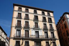 Madrid Calle Mayor. Mediterranean architecture in Spain. Old apartment buildings in Madrid - Calle Mayor royalty free stock photography