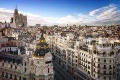 Madrid centrum, Gran Vis Spain Arkivfoton