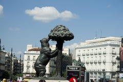 Madrid centrumgränsmärke Arkivfoto