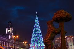 Madrid at Christmas. City Hall and the famous Puerta del Sol clock in Madrid. royalty free stock image