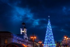 Madrid at Christmas. City Hall and the famous Puerta del Sol clock in Madrid. stock photo