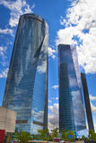 Madrid city, business centre, modern skyscrapers Stock Photos