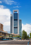 Madrid city, business centre, modern skyscrapers Stock Photo