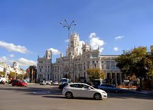 Madrid City Hall or Cybele Palace, Outstanding Building on the Cibeles Square of Madrid, Spain stock images