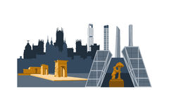 Madrid city. Landmarks and skyscrapers illustration. Cibeles palace, Bear and strawberry tree, Debod egyptian temple, Cuatro torres skyscrapers royalty free illustration