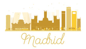 Madrid City skyline golden silhouette. Vector illustration. Simple flat concept for tourism presentation, banner, placard or web site. Cityscape with famous royalty free illustration