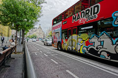 Madrid City Tour bus on the street of Alcala, Madrid, Spain Royalty Free Stock Photography