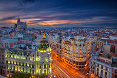 Madrid. Cityscape image of Madrid, Spain during sunset Royalty Free Stock Images