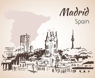 Madrid cityscape with map. Royalty Free Stock Photo