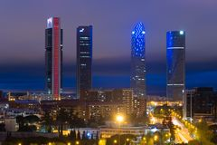Madrid cityscape at night. Landscape of Madrid business building stock photo