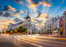 Madrid Cityscape. Madrid, Spain cityscape at Calle de Alcala and Gran Via Royalty Free Stock Images