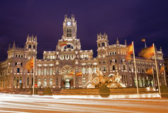 Madrid - Communications Palace from Plaza de Cibeles Stock Photos