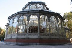 Madrid, The Crystal Palace. The Crystal Palace, a glass pavilion,the most extraordinary building of the famous park El Retiro in Madrid, Spain by the architect Stock Photos