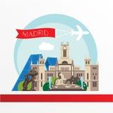 Madrid a détaillé la silhouette Illustration à la mode de vecteur, style plat Points de repère colorés élégants Image stock