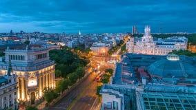 Madrid dag till natttimelapse, flyg- sikt för härlig panorama av Madrid stolpePalacio comunicaciones, Plaza de Cibeles lager videofilmer