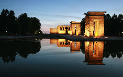 Madrid Debod's Temple. Egyptian temple rebuild in spain, as the temple de debod. Picture taken at the beginning of the night stock image