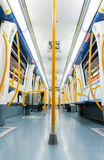MADRID - DECEMBER 21: Inside an empty subway train on December 2 Stock Photography