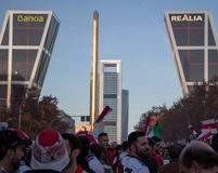 MADRID, DECEMBER 09 - River Plate supporters in front of the Kio towers before entering the final of the Copa Libertadores stock photography
