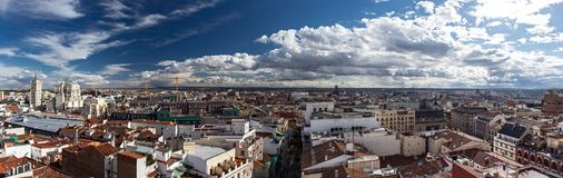 Madrid at 180 degrees. With roofs, terraces and historic buildings Stock Photography