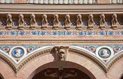 Madrid - Detail of facade on Palacio de Velasquez in Buen Retiro park Stock Photos