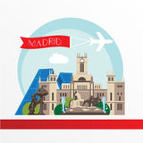 Madrid detailed silhouette. Trendy vector illustration, flat style. Stylish colorful  landmarks. Cybele Palace, The Statue of the Bear and the Strawberry Tree Stock Image