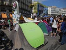 Madrid, dimostranti occupa il quadrato del solenoide Fotografia Stock Libera da Diritti