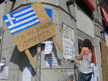 Madrid, dimostranti occupa il quadrato del solenoide Fotografia Stock