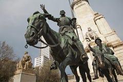 Madrid - Don Quichote und Sancho Panza von Cervantes-Denkmal Stockbild