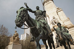 Madrid -  Don Quixote and Sancho Panza from Cervantes memorial Stock Image