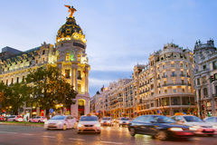 Madrid at dusk, Spain. Traffic on Downtown of Madrid at twilight. Spain Stock Photos