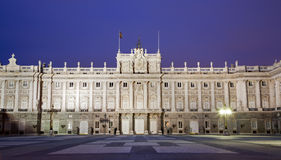 Madrid - East facade of Palacio Real in dask. Madrid - East facade of Palacio Real or Royal palace constructed between years 1738 and 1755 in dusk in March 10 Royalty Free Stock Photos