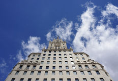Madrid Edificio Espania Skyscreaper. Edificio Espania ,one of the two towers in Plaza Espana in Madrid Stock Images
