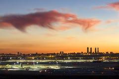 Madrid en la puesta del sol Imágenes de archivo libres de regalías