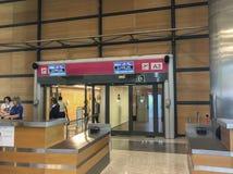 Madrid, España; 18 de junio de 2017; Puerta de embarque para un Madrid-nuevo vuelo de York con Air Europa del aeropuerto de Baraj fotografía de archivo libre de regalías