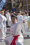 Madrid, España, desfile chino del Año Nuevo en la vecindad de Usera Imagenes de archivo