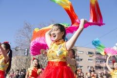Madrid, Espagne, défilé chinois de nouvelle année dans le voisinage d'Usera image stock